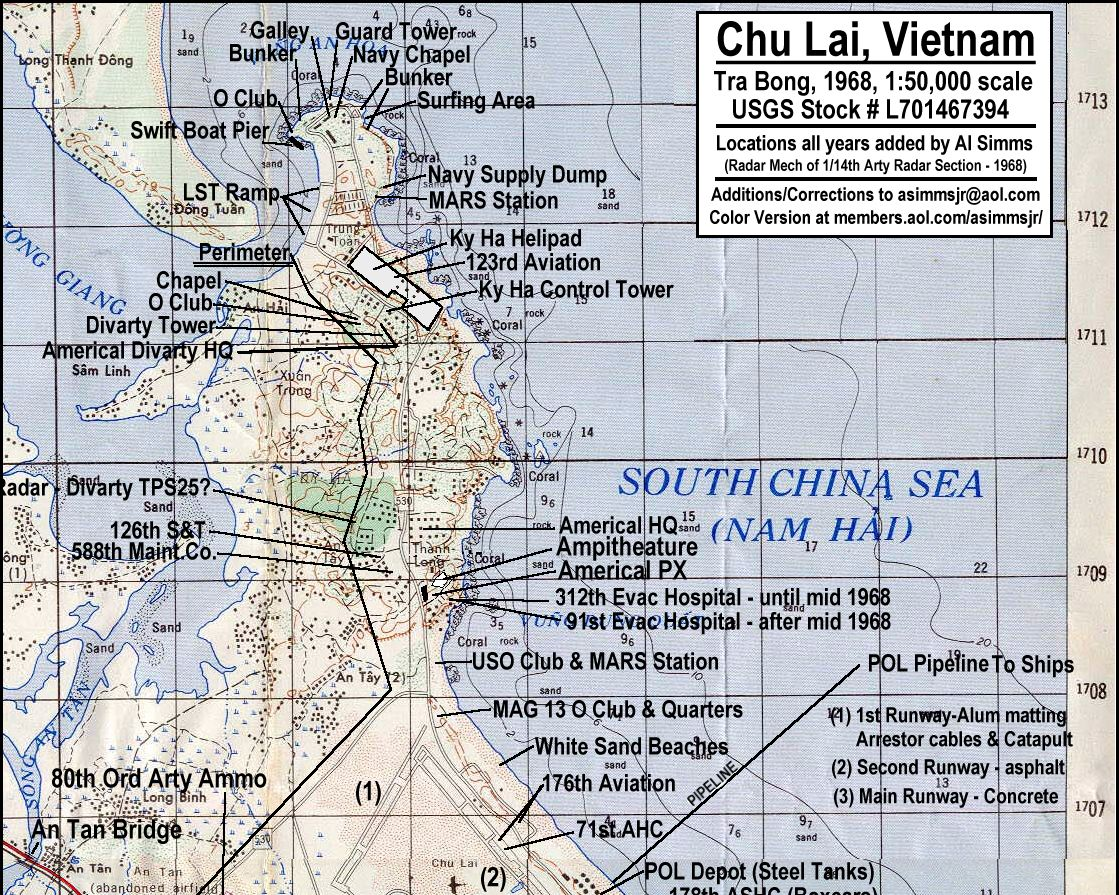 Aerial photo of Chu Lai, Vietnam, and map of area, 23rd Infantry